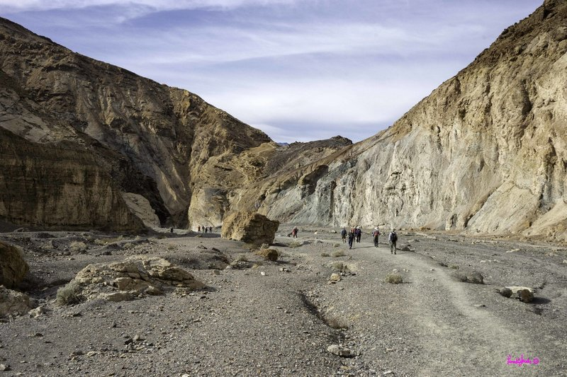 Visitors work their way through the canyon.
