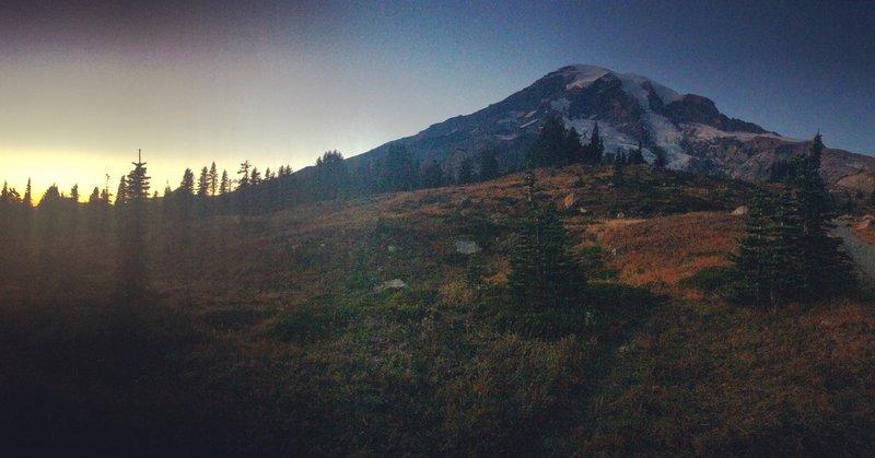 Sunset on Mt Rainier National Park.