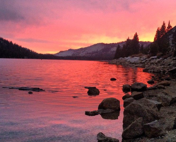 September sunset over Lake Tenaya in Yosemite National Park.
