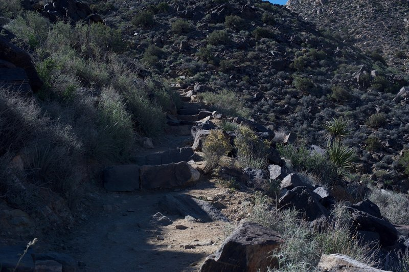 The trail up the mountain is primarily stairs that must be climbed in order to reach the top.