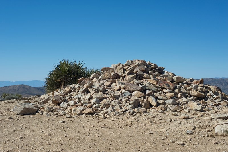Rock pile created by hikers at the top of Ryan Mountain.