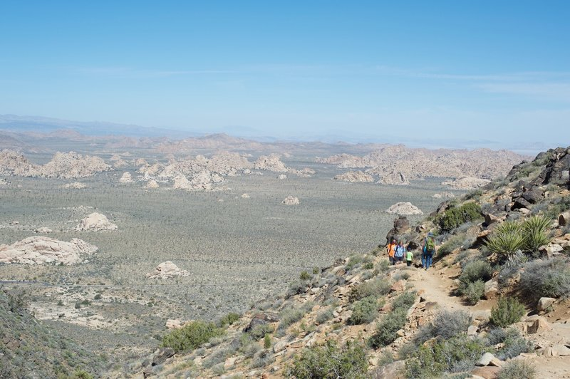 The trail hugs the mountain as it makes its way toward the summit. Views of Hidden Valley and other areas of the park spread out before you as you climb.