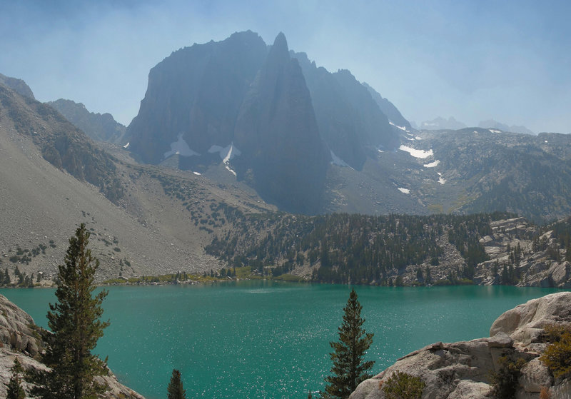 Temple Crag and Big Pine Lakes Second Lake.