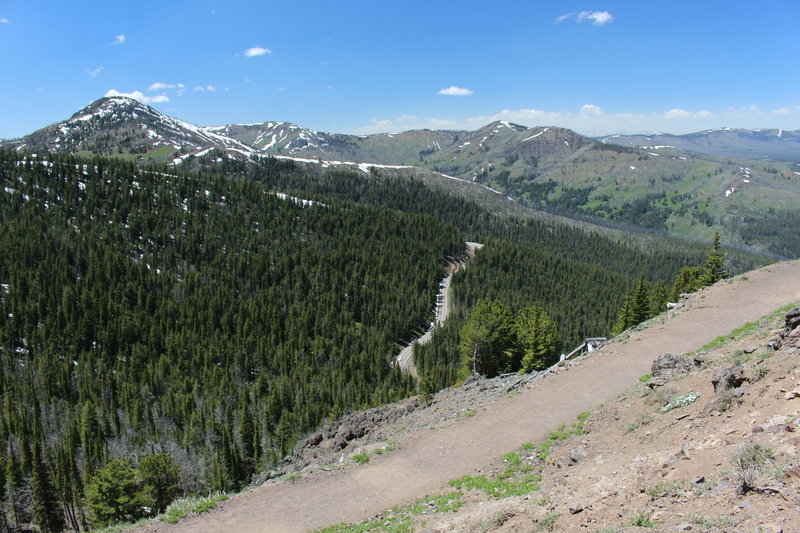 View of the Grand Loop Road from the Mount Washburn Trail.