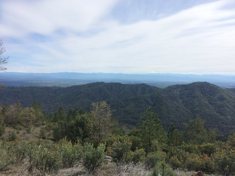 Piece of the view from the top: Redding behind/left of the ridge, Lassen on the horizon.