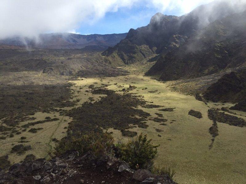 Halemau'u Trail crossing Ko'olau Gap and to Holua Cabin in background.