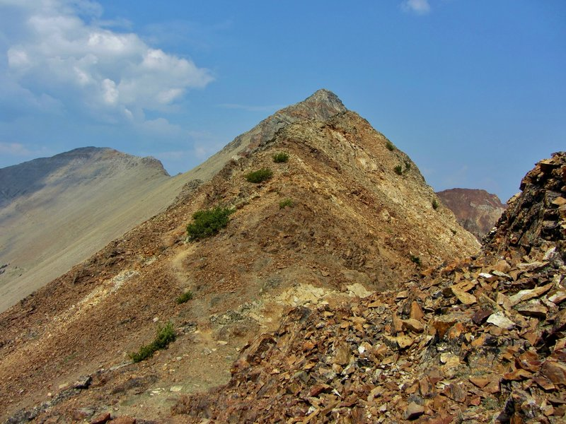 The rugged trail snakes up the Southeast Ridge and nears the summit of Electric Peak.