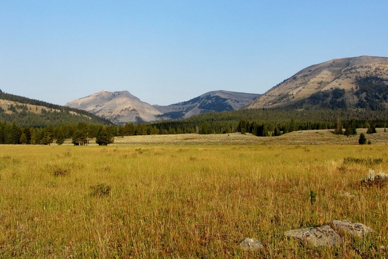 Looking west up the Panther Creek drainage toward Bannock Peak and Bighorn Pass (on the far left).