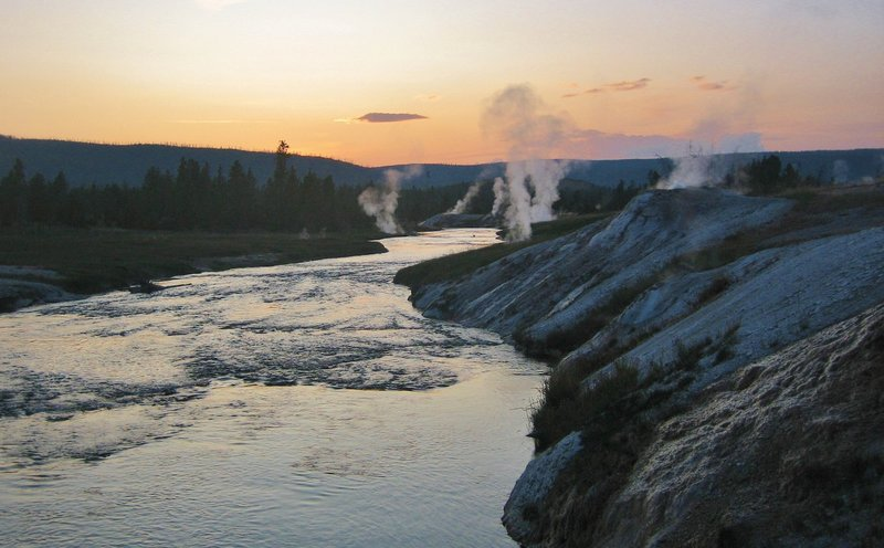 Firehole River at sunset.