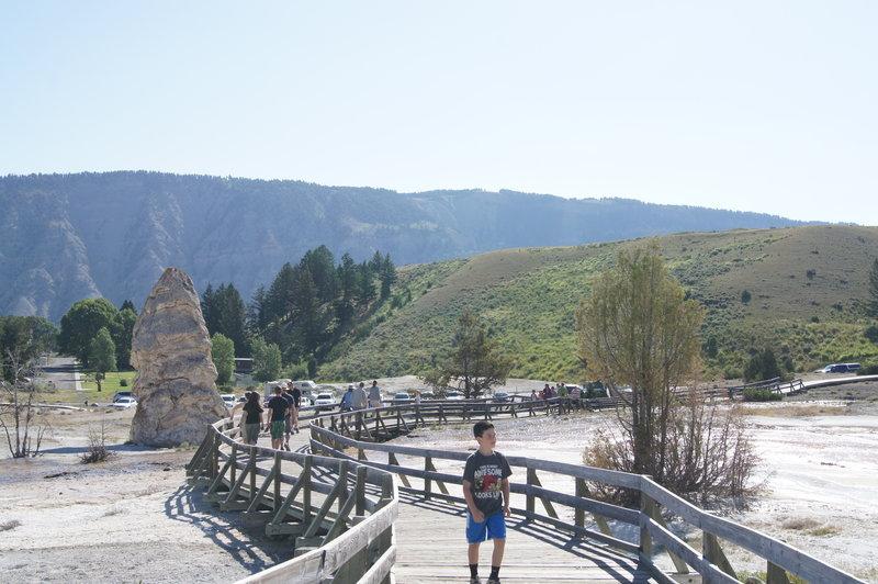 Mammoth Hot Springs boardwalk.