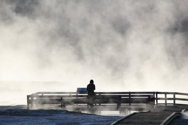 Fog streaming from hot spring in background.