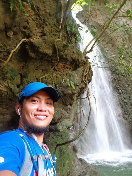 At Tagbaobo Waterfalls, part of 50miles/80km route of TP50.