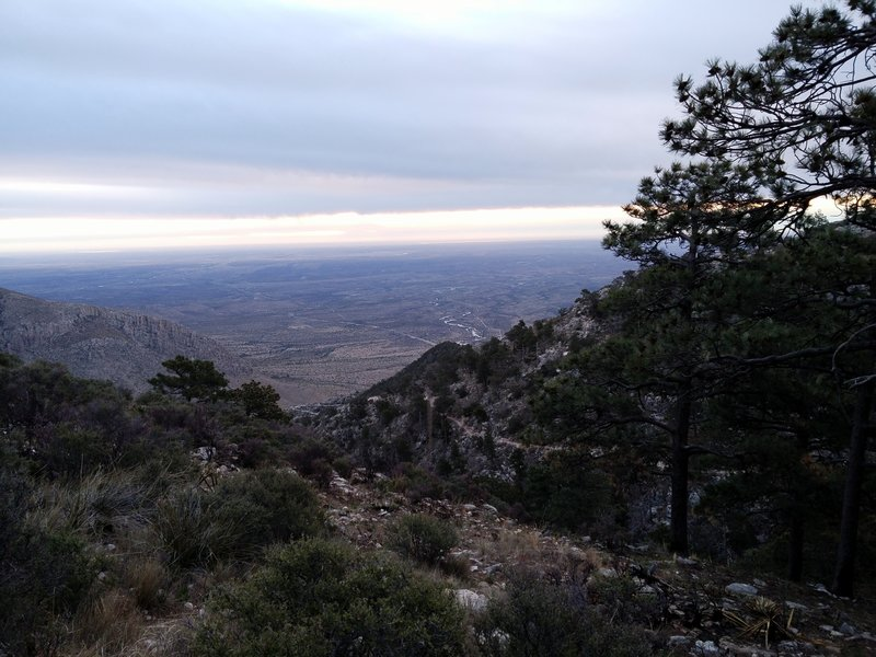 View looking NE from the backcountry campground on the peak.