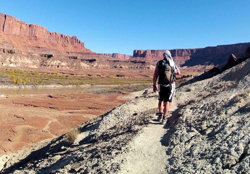 Hiking back to the trailhead from the Anasazi Ruin