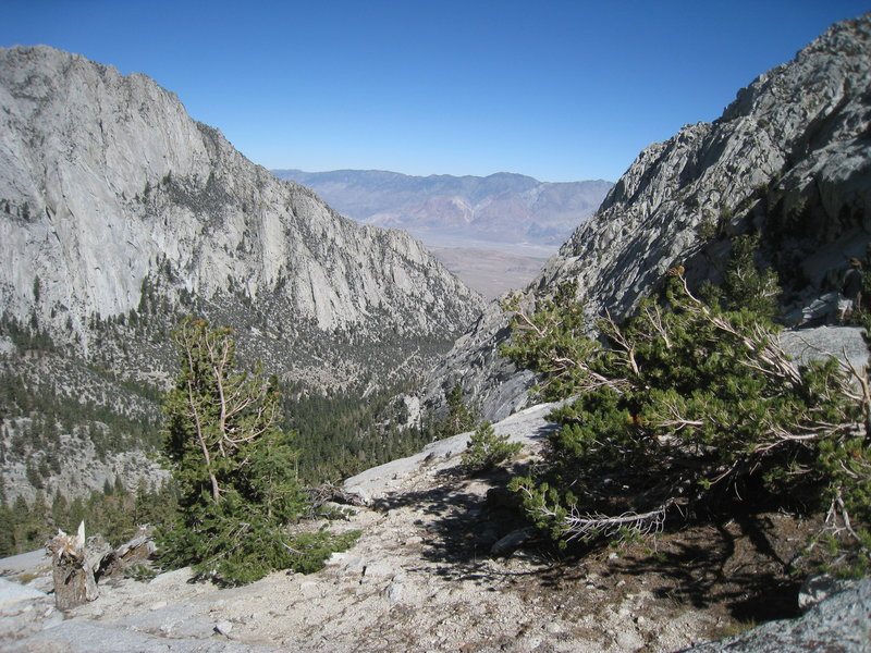 A brief pass in the mountains give a view from the Mt. Whitney Trail.