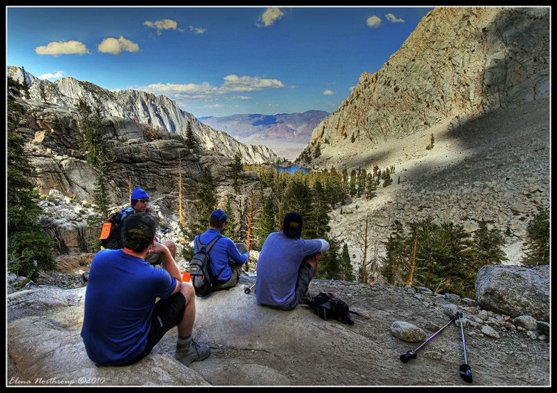 Enjoying the Moment: Hikers at Mt Whitney Trail, Highest Peak in Continental USA with permission from Elena Omelchenko
