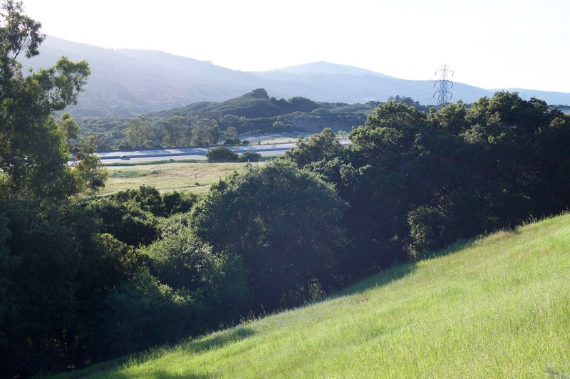 Views of I-280 and the Santa Cruz Mountains in the late afternoon as the Franciscan Trail departs the Ridgeview Trail.