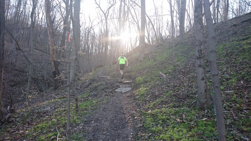 Climbing up the green trail
