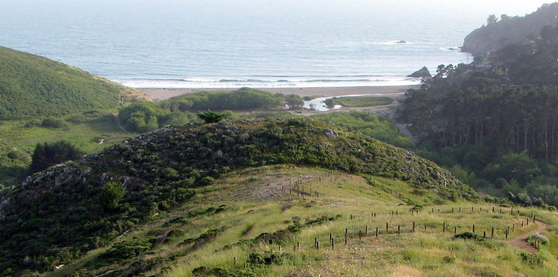Lower portion of Diaz Ridge Trail with Muir Beach in the background.