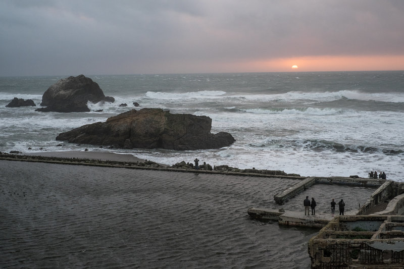 Overlooking the Sutro Baths at sunset.