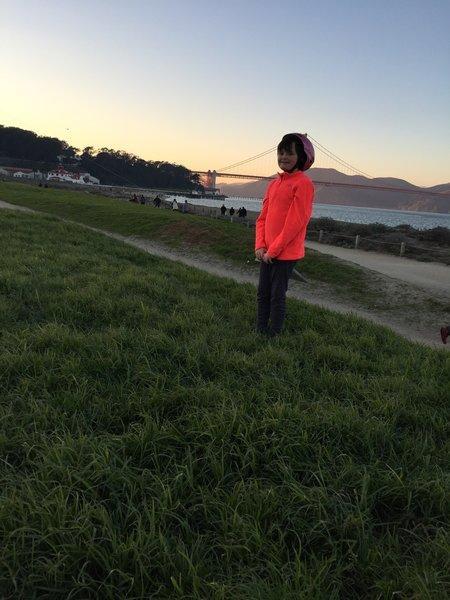 Enjoying Chrissy Field and the Golden Gate Bridge.