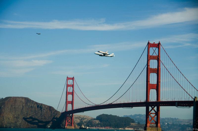 Flying over the Golden Gate.