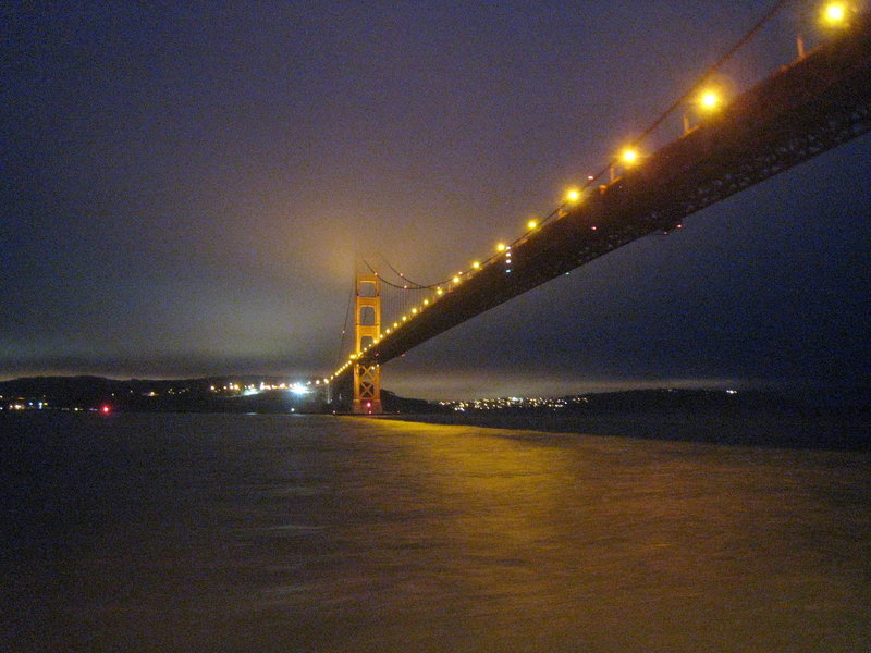 Golden Gate Bridge lights up at night.