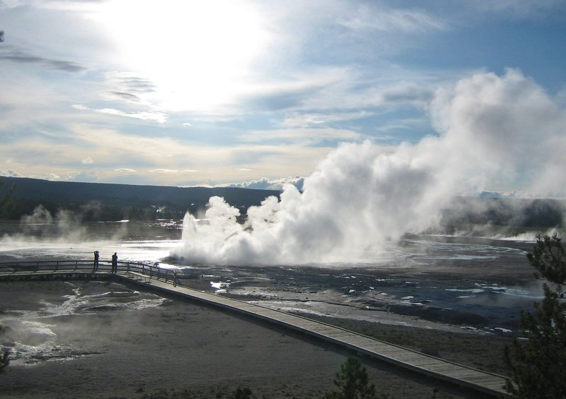 Overlooking Clepsydra geyser and the Fountain Flats.