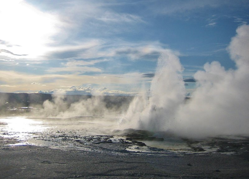Clepsydra geyser is in almost constant eruption from several vents. Its name is Greek for water clock, because the geyser used to erupt regularly every three minutes. Since the 1959 Hebgen earthquake, however, Clepsydra erupts almost without pause.