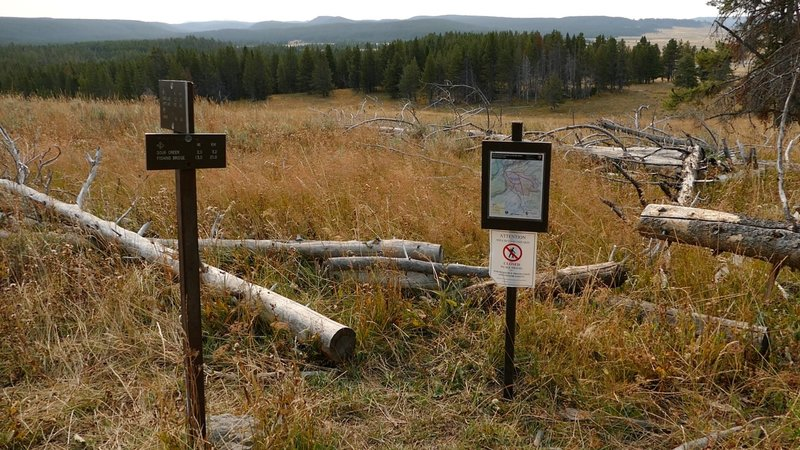This photo is actually for the Sour Creek Trail junction with Wapiti Lake, but is relevant for this trail as well.