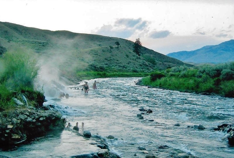 Boiling River bathers enjoy the many warm pools along the Gardner River.