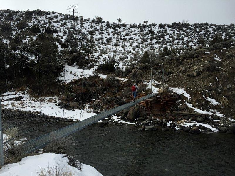 Suspension bridge across the Gardner River.