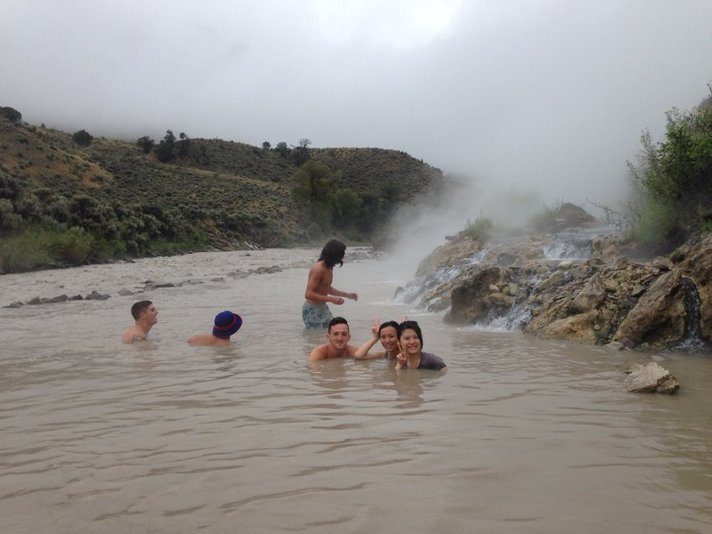 Enjoying a dip in the Boiling River.