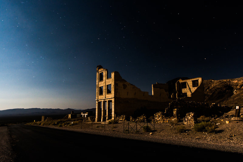 The ghost town at dusk.