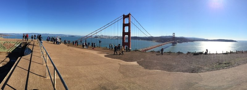 Marin Headlands panorama of the Golden Gate Bridge.