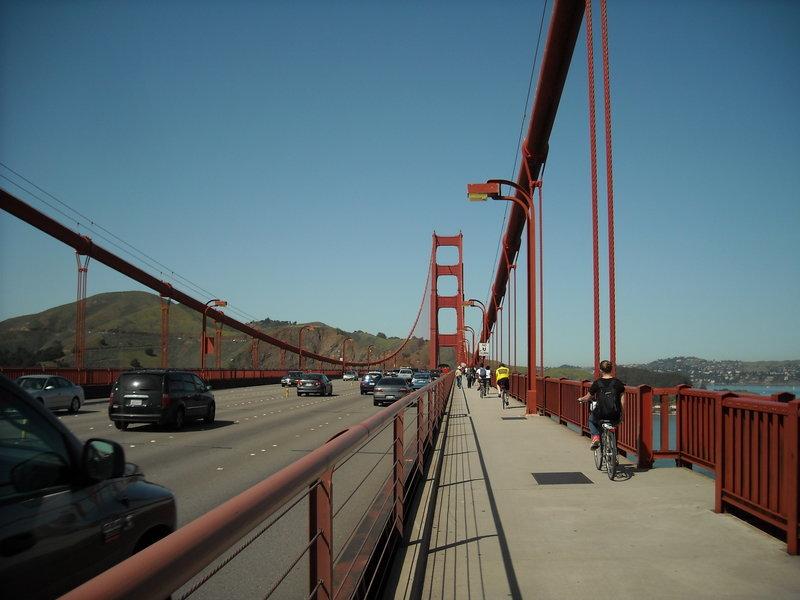 The path across the Golden Gate Bridge.