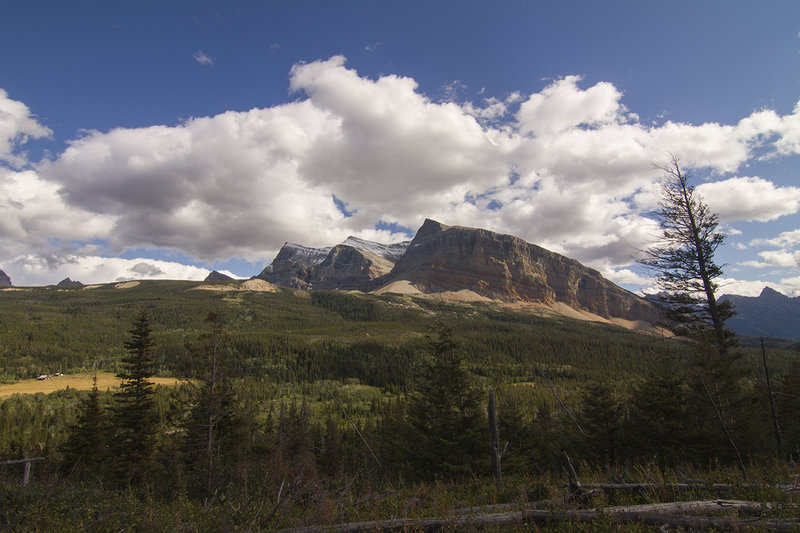 Looking east to Gable Mountain and the Belly River Ranger Station.