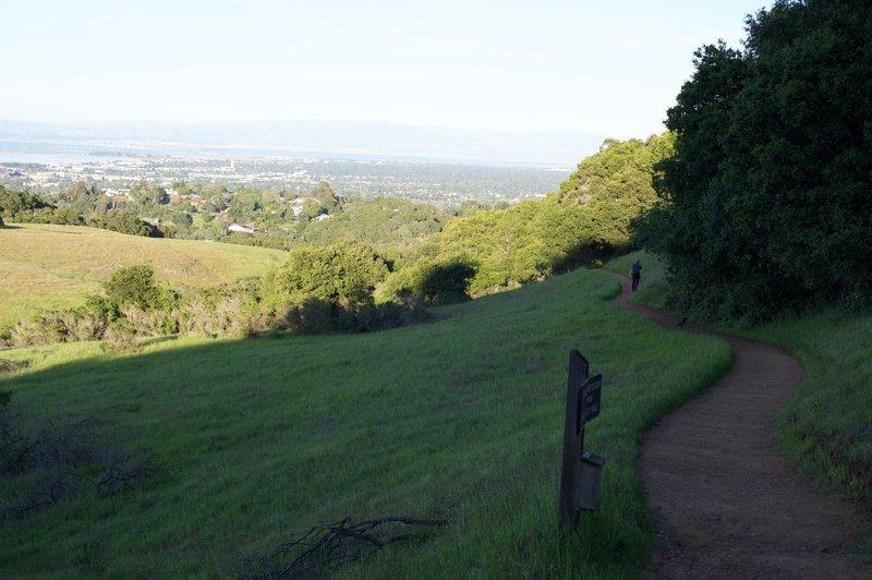 The trail descends toward the Serpentine Trail.