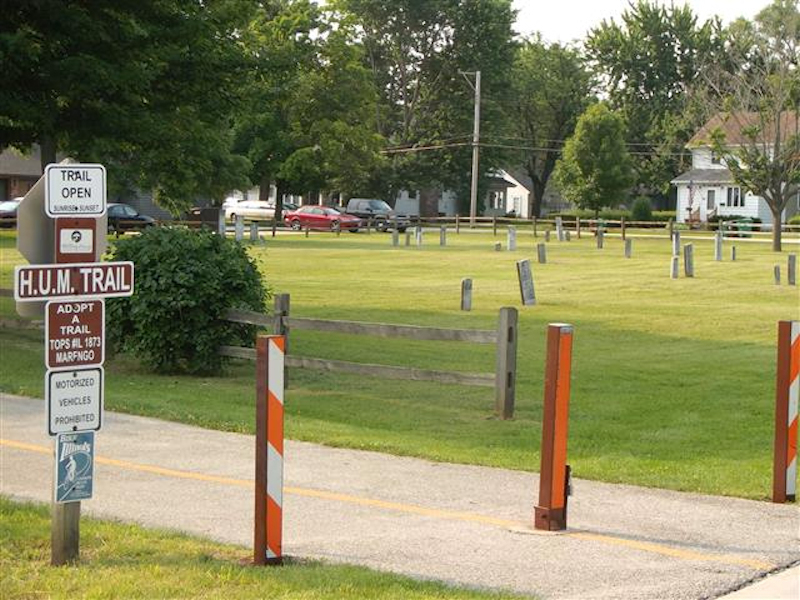 Start point of the trail in downtown Marengo. Parking lot and restroom are located about three blocks up the trail, as is where most people access the path.