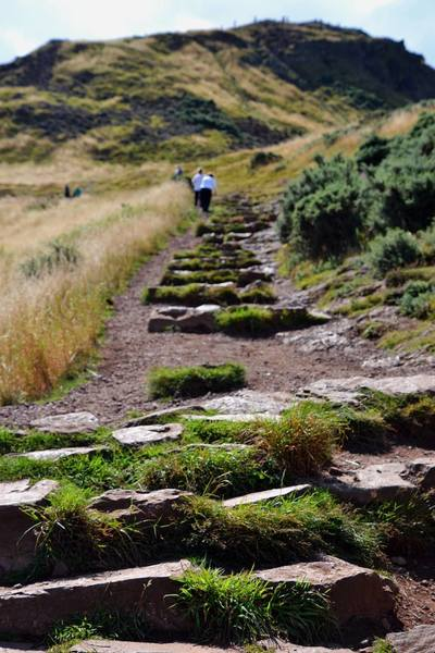 Oasis from the crowded streets of Edinburgh on the trails of Arthur's Seat, an ancient volcano