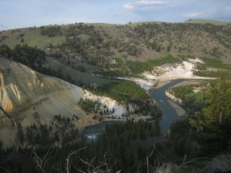 Looking up the Yellowstone River from the Tower Fall-Roosevelt Lodge Trail, high above Tower Fall.