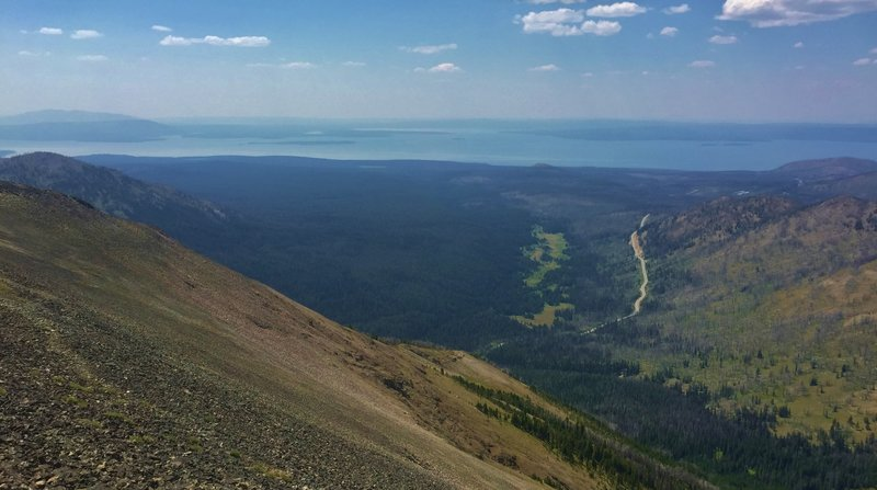From the top of Avalanche looking down Cub Creek to intoxicatingly beautiful Yellowstone Lake.