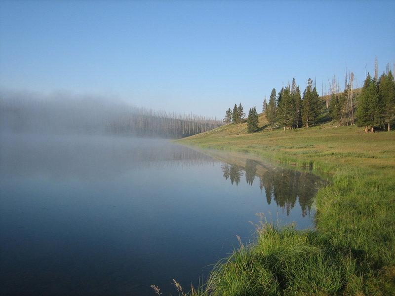 Morning breaks over Cascade Lake.