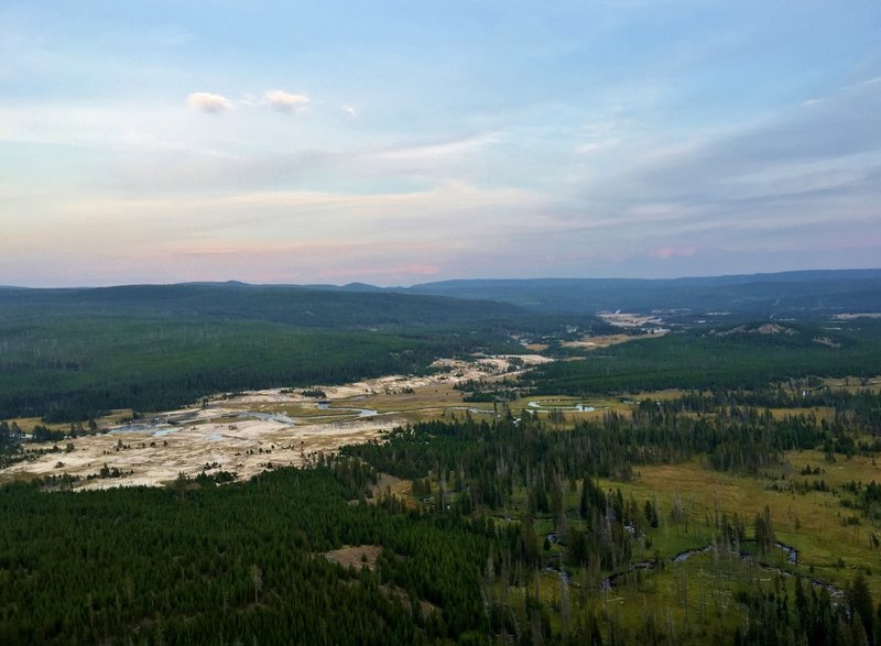 Sunset from the Lookout over the Upper Geyser Basin (on Mystic Falls Loop hike).