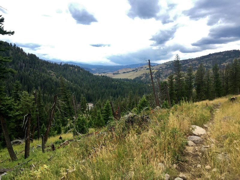 Looking southwest down the Slough Creek drainage from near the top of the Soldiers Trail.