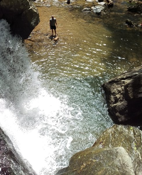 From the top of Kilgore Falls looking down into the water below.