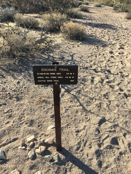 Sign at trail intersection marking the dry wash that is part of the Encinas Trail leading to Ez-Kim-In-Zin Picnic area.