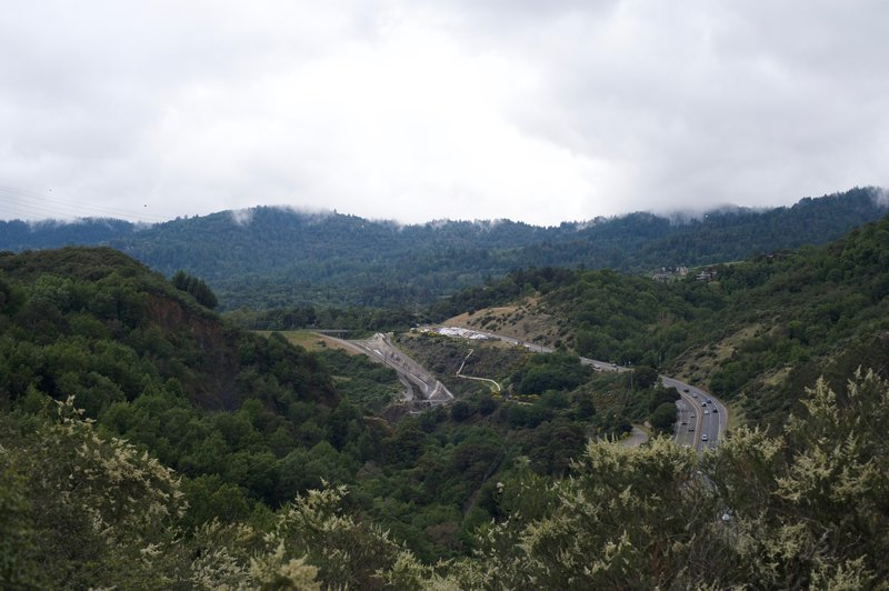 Highway 17 headed to Santa Cruz and part of the Lexington Reservoir as seen from the trail.