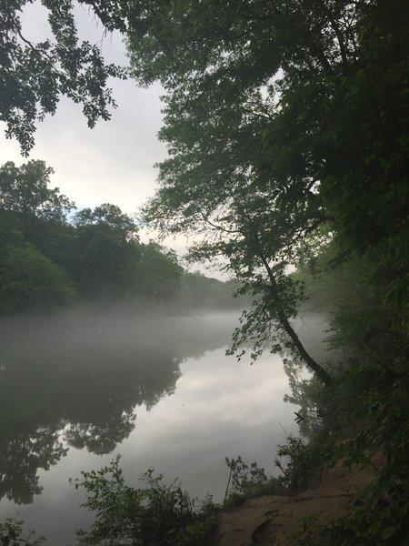 Morning mist along the river heading from JB 4.