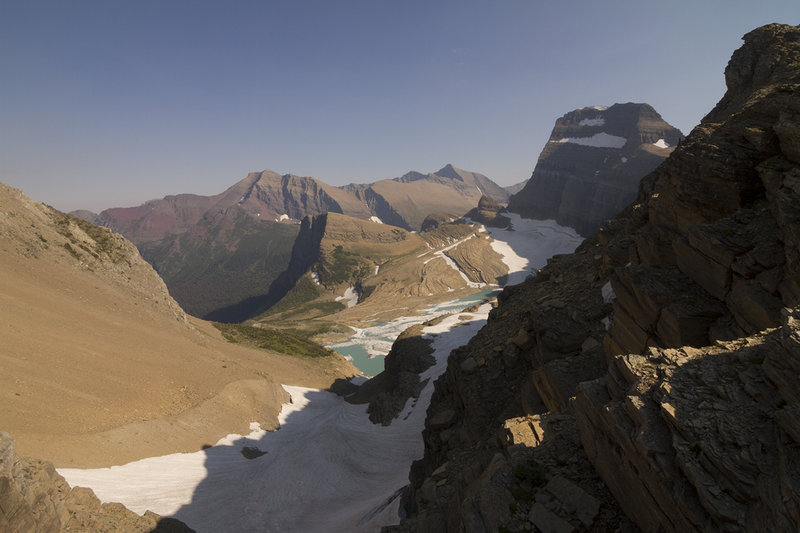 View from the Grinnell Glacier Overlook along the Garden Wall